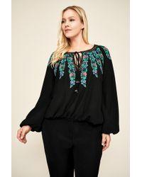 Tadashi Shoji Alina Embroidered Crepe Blouse - Plus Size - Black