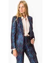 Roman Zig-zag Pattern Jacket - Blue