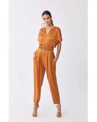 Roman Gloss Tan Jumpsuit - Orange