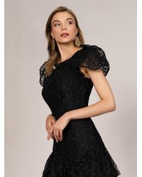 Roman Puff Sleeve Tiered Skirt Evening Gown - Black