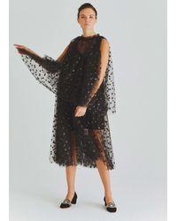 Roman Sheer Velvet Polka Dot Cocktail Dress - Black