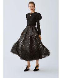 Roman Frill-trim Evening Skirt - Black