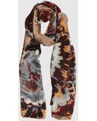 Roman Floral Print Silk Scarf - Multicolor