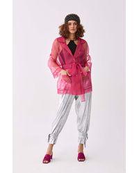 Roman Sheer Fuchsia Longline Jacket - Pink