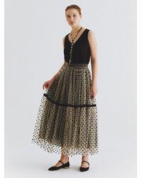 Roman Tea-length Velvet Polka Dot Skirt - Multicolor