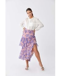 Roman Tiered Flounce Floral Maxiskirt - Multicolor