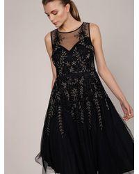 Roman Opulent Hand Beaded Evening Gown - Black