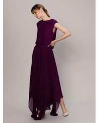 Roman Flowing Purple Cap Sleeve Gown
