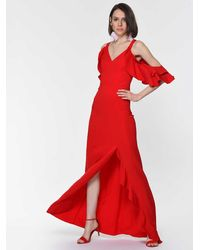 Roman Ruffle-sleeve Slit Gown - Red