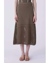 Roman Olive Netted Maxi Skirt - Brown