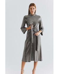 Roman Shimmery Mockneck Cocktail Dress - Metallic