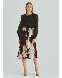 Roman Floral Waist Tie Midi Skirt - Black
