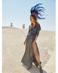 Roman Silver High Slit Wrap Gown - Metallic