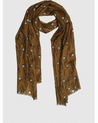 Roman Tan Deco Wool Scarf - Multicolor