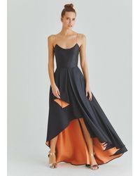 Roman Cobalt Blue And Peach Gown - Black