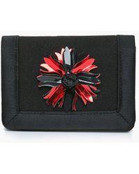 Roman Red Detail Mini Clutch - Black