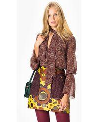 Roman Floral Print Mini Skirt - Multicolor