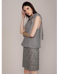 Roman Deco-embellished Silver Dress - Gray