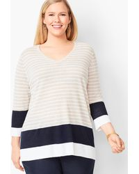 Talbots Blocked-stripe Linen Jumper - Multicolour