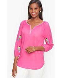 Talbots Parrot Embellished Voile Popover Shirt - Pink