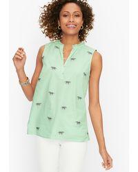 Talbots Cotton Split Neck Shell Jumper - Green