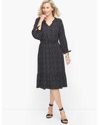 Talbots Split Neck Soft Dress - Black