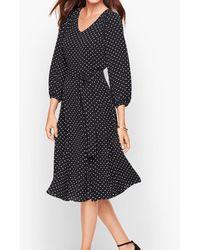 Talbots Ditsy Dot Fit & Flare Dress - Black