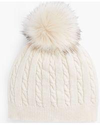 Talbots Cable Stitch Pompom Hat - White