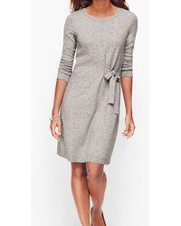Talbots Tweed Side Tie Jumper Dress - Gray