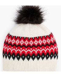 Talbots Chalet Fair Isle Pompom Hat - Red