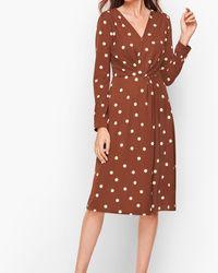 Talbots Twist Front Fit & Flare Dress - Brown