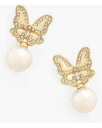 Talbots Butterfly Pearl Earrings - Metallic