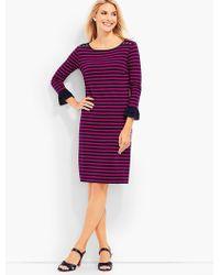 Talbots Ruffle-sleeve Dress - Stripes - Purple