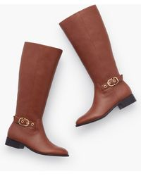 Talbots Tish Soft Pebbled Leather Riding Boots - Brown
