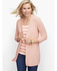 Talbots Open Front Sweater - Pink