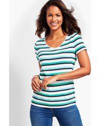 Talbots - Savannah Stripe V-neck Tee - Lyst