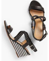 Talbots - Royce Braided Leather Stripe-cork-wedge Sandals - Lyst
