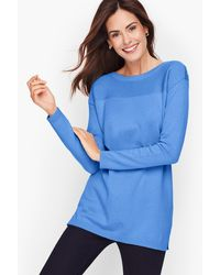 Talbots Contrast Stitch Sweater - Blue