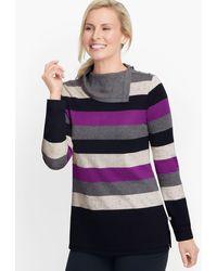 Talbots Split Neck Colorful Stripe Top - Purple