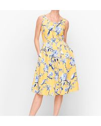 Talbots Toile Fit & Flare Dress - Yellow