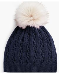 Talbots Cable Stitch Pompom Hat - Blue