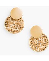 Talbots Basketweave Inset Earrings - Multicolour
