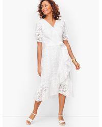 Talbots Eyelet Cascade Wrap Dress - White