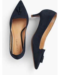 Talbots Erica Tasselled Kitten-heel Pumps-kid-suede - Blue
