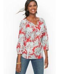Talbots Oasis Palms Crinkle Gauze Popover Shirt - Multicolour