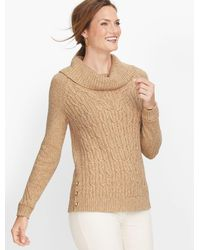 Talbots Cable Cowlneck Sweater - Brown
