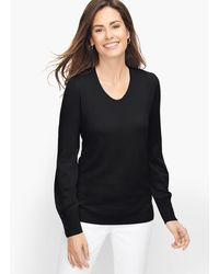 Talbots Soft Merino V-neck Jumper - Black