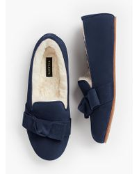 Talbots - Fireside Shearling-lined Slippers - Bow Detail - Lyst
