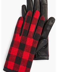Talbots Buffalo Check Leather Touch Gloves - Red