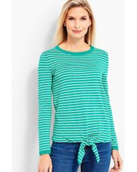 Talbots - Tie-front Sweater-striped - Lyst